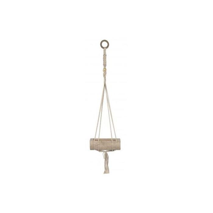 pot de fleur suspendu bois macram crochet marron pomax. Black Bedroom Furniture Sets. Home Design Ideas