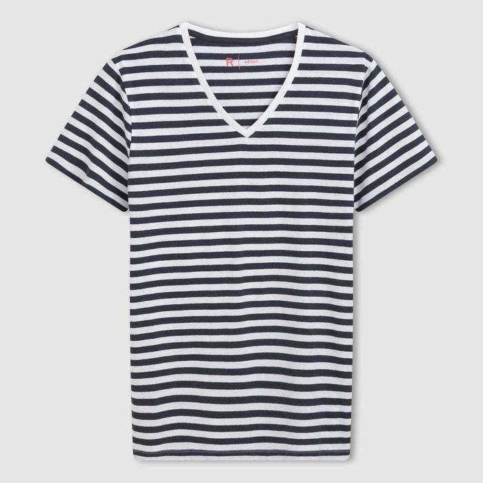 Image T-shirt w paski, z dekoltem w kształcie V i krótkim rękawem R édition