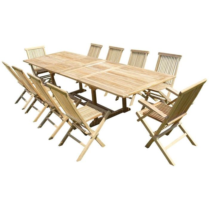 Ensemble de jardin en teck premium kirang 8 chaises 2 fauteuils jenae naturel teck 39 line la redoute Table jardin teck la redoute