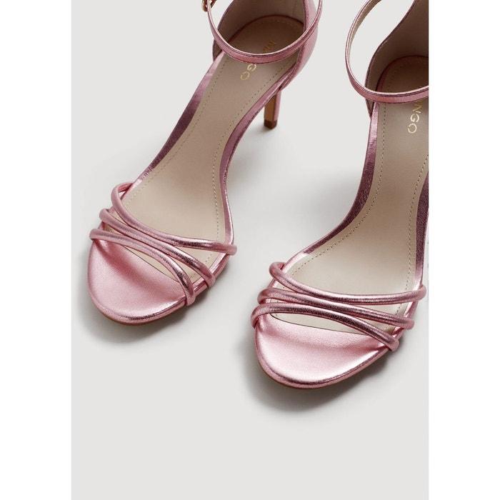 Sandales métallisées à talon rose Mango
