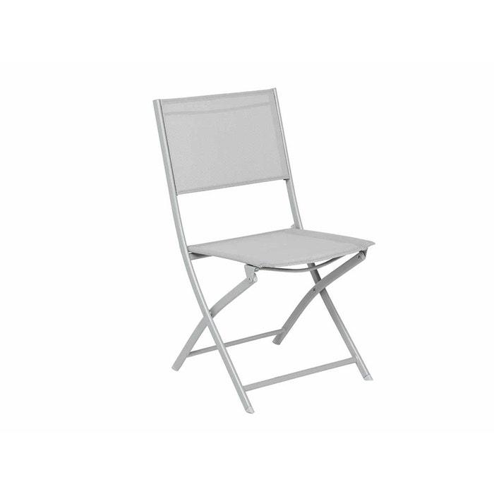 Chaise de jardin pliante métal Modula Gris/Gris mat