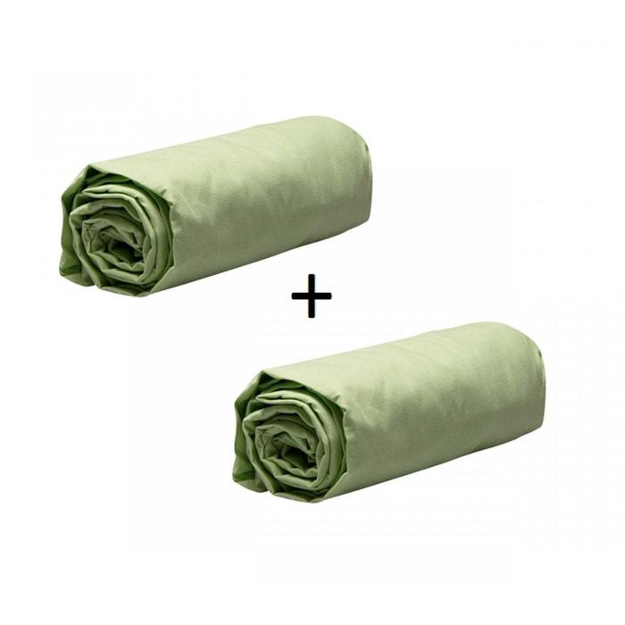 pack 2 draps housses jersey vert anis bonnet 30 cm vert terre de nuit la redoute. Black Bedroom Furniture Sets. Home Design Ideas
