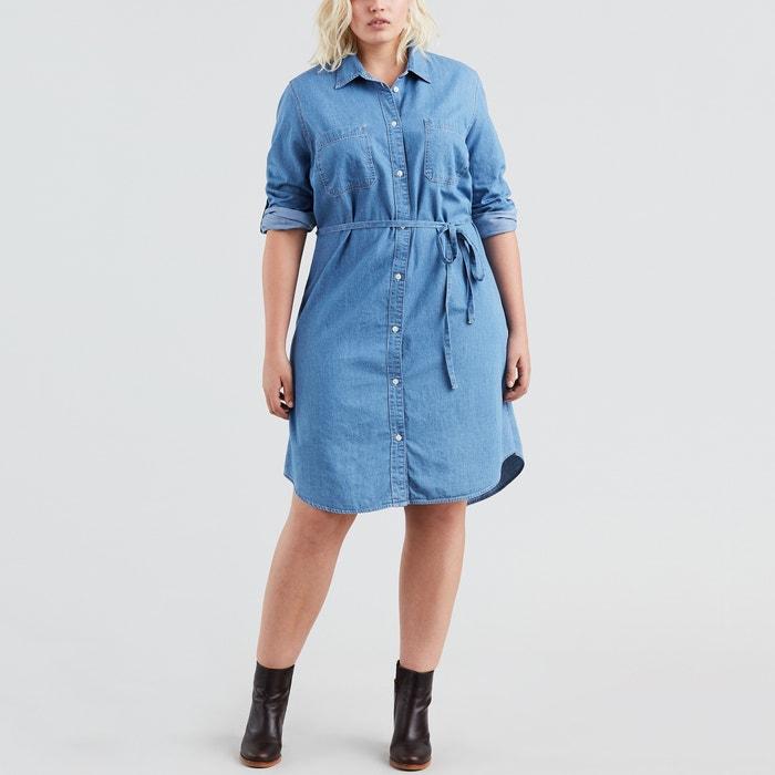c86ef5424a Bebe plus size denim tie-waist shirt dress