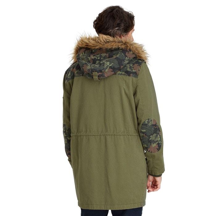 blouson manteau parka d hiver homme avec pochettes camouflages et col en fausse fourrure kaki. Black Bedroom Furniture Sets. Home Design Ideas