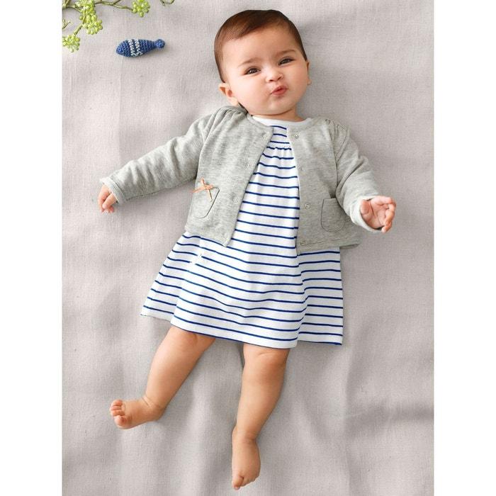 Ensemble 2 pièces marin gilet et robe bébé blanc clair rayé Vertbaudet   La  Redoute 88055fe378e8