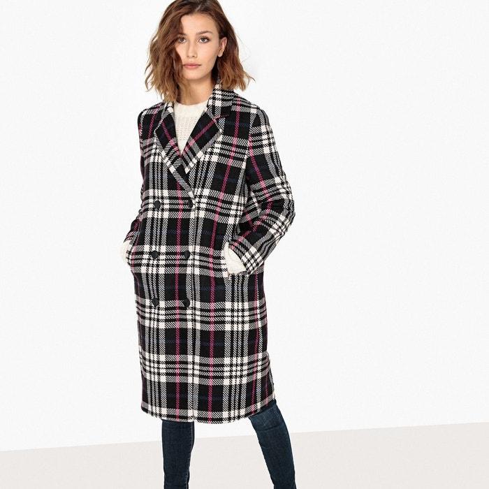 Manteau croisé à carreaux en laine mélangée