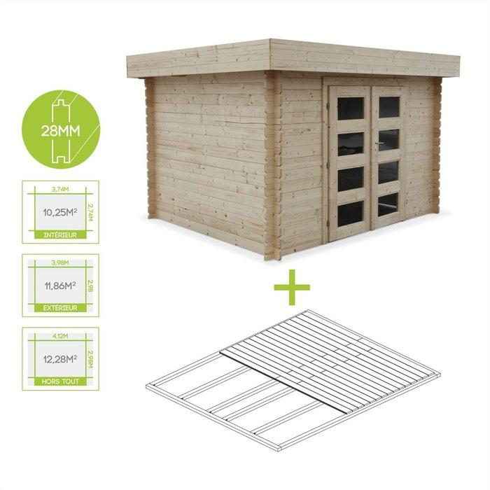 Abri de jardin vizzavona en bois fsc de 8 59m plancher structure en madriers couleur unique for Abri de jardin en bois la redoute