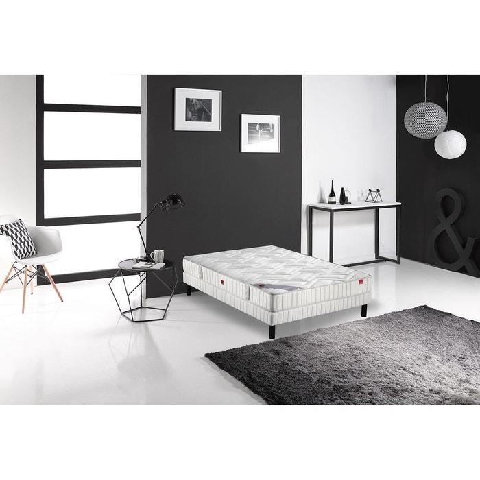 ensemble matelas ressorts multispire et sommier blanc. Black Bedroom Furniture Sets. Home Design Ideas