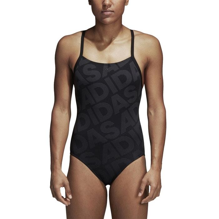 327f242278f0c Maillot de bain 1 pièce piscine imprimé noir Adidas Performance   La Redoute