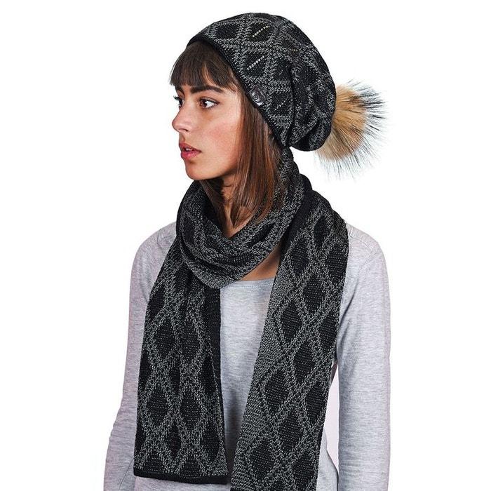 Echarpe et bonnet joia noir - fabriqué en europe noir Mokalunga   La Redoute 4f754fef834