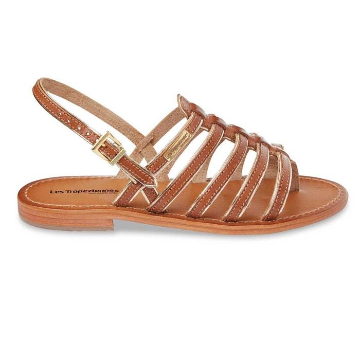 Sandales cuir entre-doigts herbier  tan/or Les Tropeziennes Par M Belarbi  La Redoute