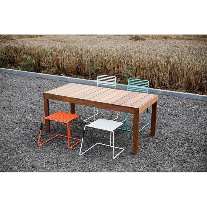 Salon de jardin table rectangulaire SENA en Ipé 2 chaises et 2 tabourets  TINA