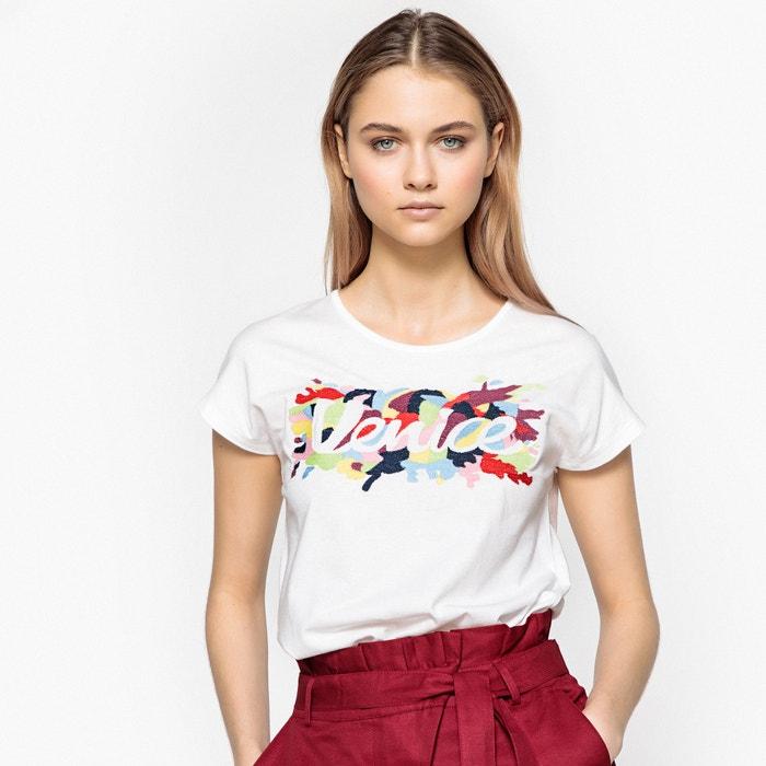 T-shirt scollo rotondo, maniche corte, fantasia davanti  La Redoute Collections image 0