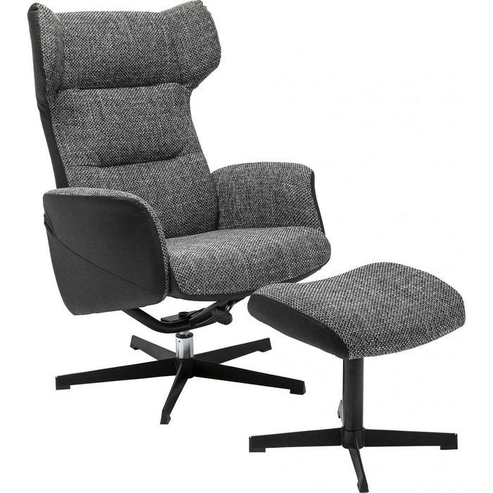 Fauteuil pivotant et repose pieds ohio kare design gris for La redoute fauteuil cabriolet