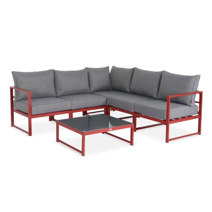 Salon de jardin 5 places Stratum en aluminium, design et modulable,  coussins épais