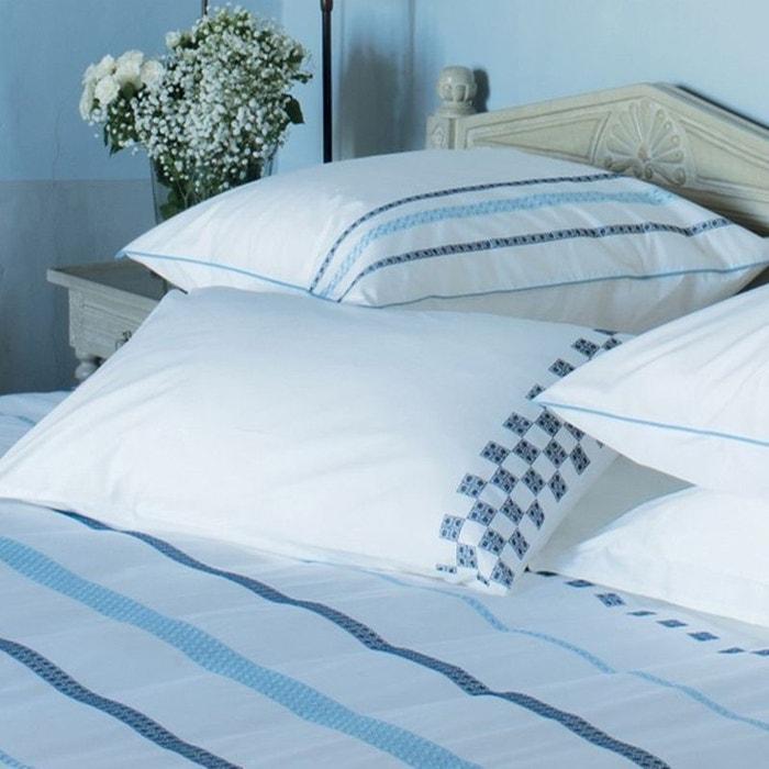 taie d 39 oreiller firenza bleu blanc bleu garnier thiebaut la redoute. Black Bedroom Furniture Sets. Home Design Ideas