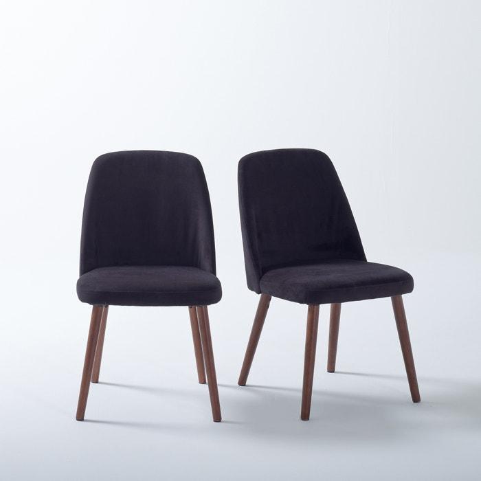 chaise velours et noyer watford lot de 2 la redoute interieurs la redoute. Black Bedroom Furniture Sets. Home Design Ideas