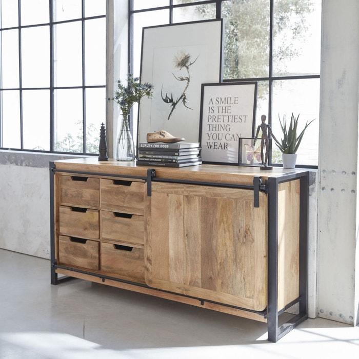 Buffet industriel porte coulissante manguier 6 tiroirs bois mrbpc bois made in meubles la - Meuble buffet bois ...