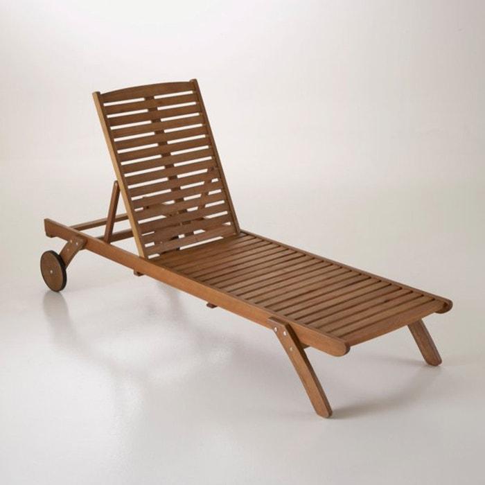 espregui adeira chaise longue eucalipto madeira clara eucalipto la redoute interieurs la redoute. Black Bedroom Furniture Sets. Home Design Ideas