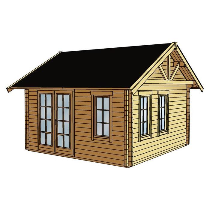 Abri jardin bois toronto 1 17 64 m x x m 70 mm bois clair habitat et for Abri de jardin en bois la redoute