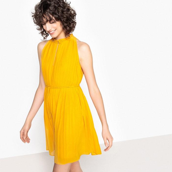 Plain Sleeveless Pleated Mini Dress  SEE U SOON image 0