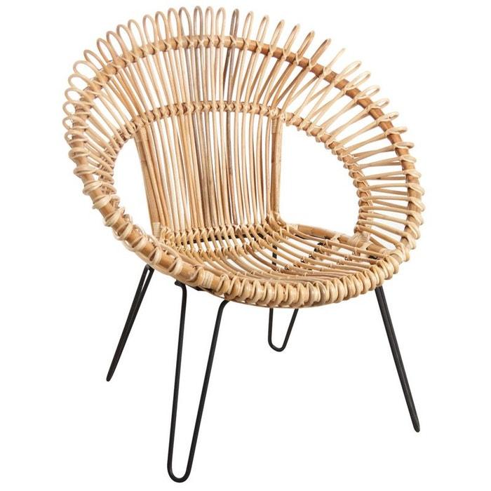 Fauteuil en rotin naturel et m tal naturel aubry gaspard la redoute - La redoute fauteuil rotin ...