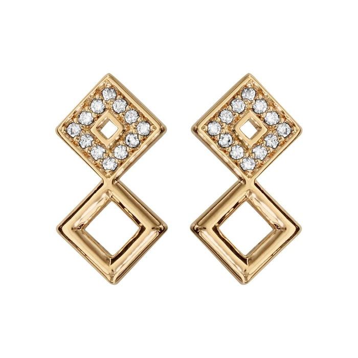 Boucles d'oreilles 2 carrés oxyde de zirconium blanc plaqué or 750 couleur unique So Chic Bijoux | La Redoute