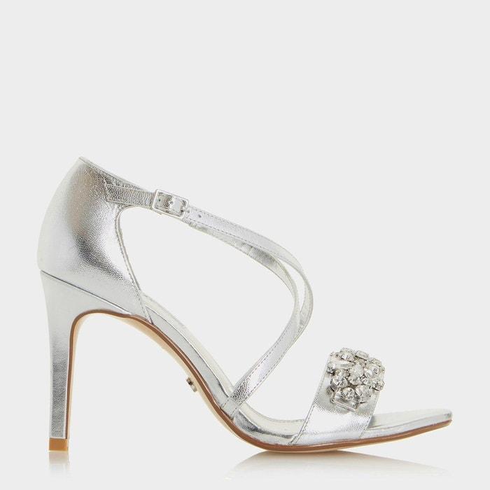 Sandales ornées de bijoux fantaisie à talons hauts et brides croisées - marcela  silver cuir Dune London  La Redoute