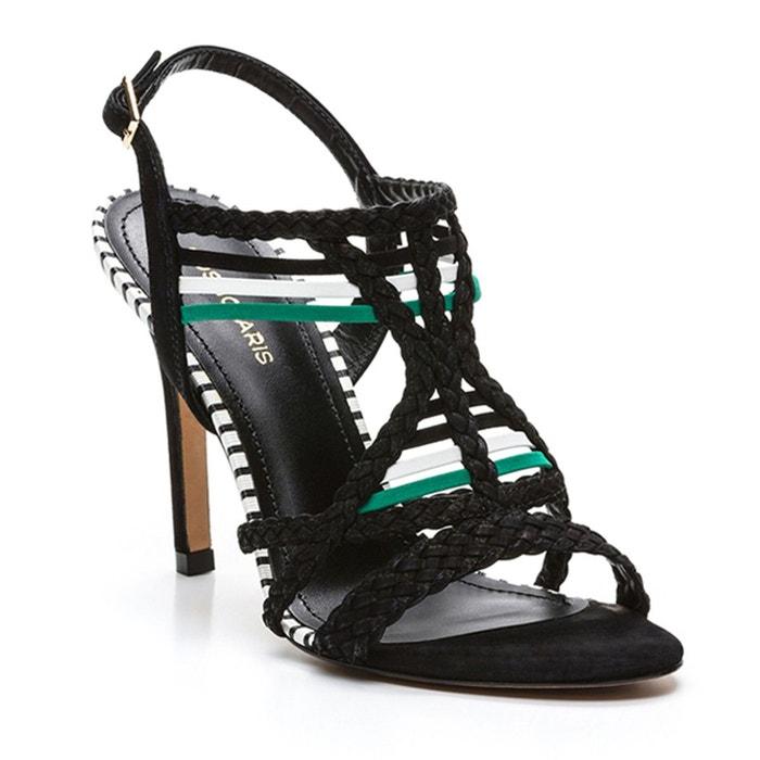 Sandales talons aiguilles, cuir, Kielle, Noir Vert