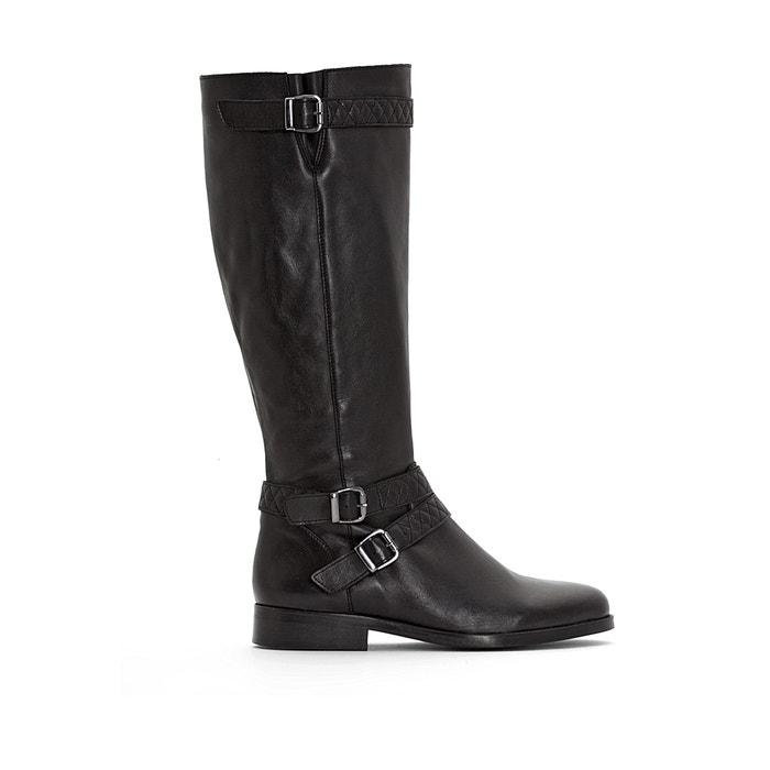 90142e3be2b Wide-fitting leather biker boots , black, La Redoute Collections Plus | La  Redoute