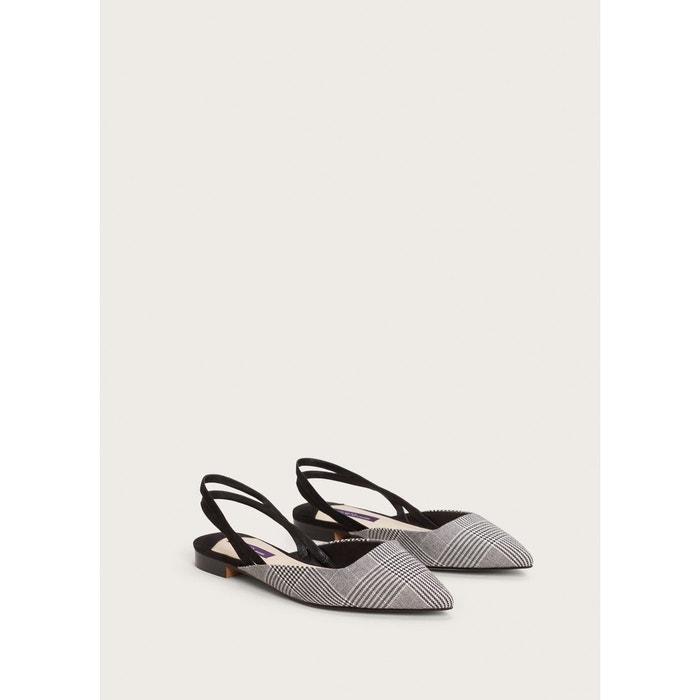 Chaussures ouvertes à larrière à carreaux noir Violeta By Mango