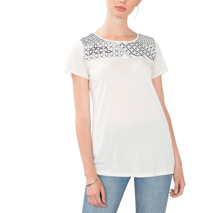 Image T-shirt bi-matière broderies et perles ESPRIT