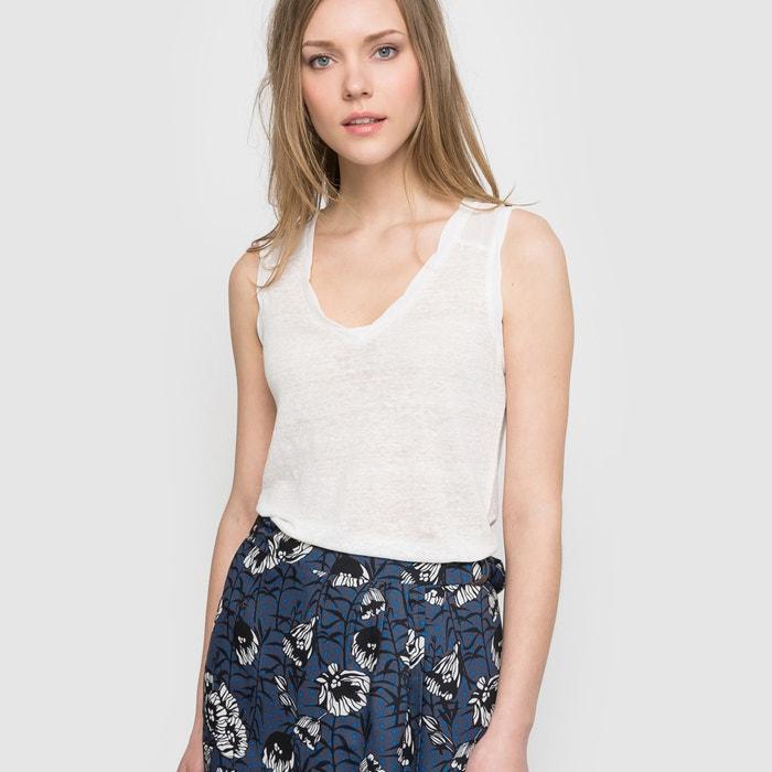 Image T-shirt sans manches lin bi-matière La Redoute Collections