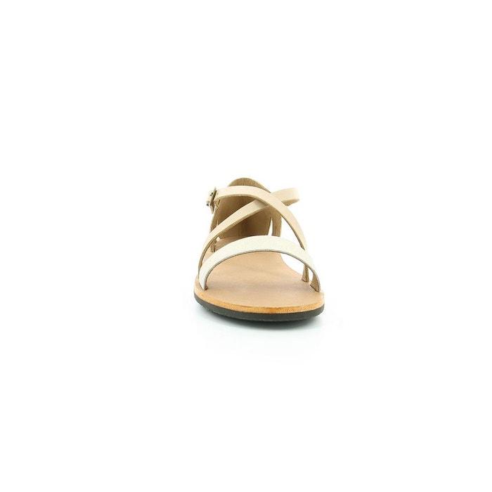 Sandales cuir femme spartame dore smu beige Kickers