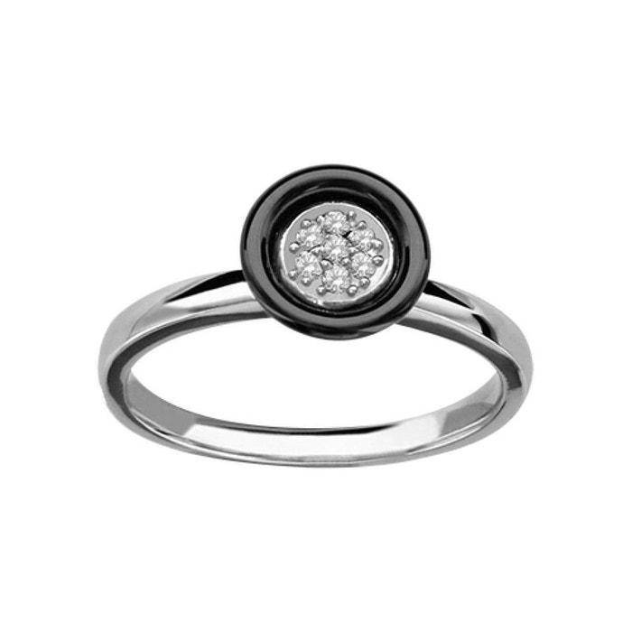 Bague femme cercle oxyde de zirconium blanc céramique noire argent 925 couleur unique So Chic Bijoux   La Redoute 2018 La Vente En Ligne 2018 Rabais l5E23IbOhN