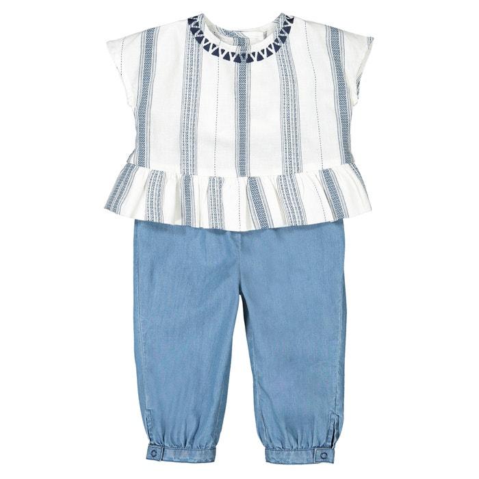 0d2fdb186 Conjunto de 2 prendas blusa + pantalón, 1 mes - 3 años crudo/azul La  Redoute Collections | La Redoute