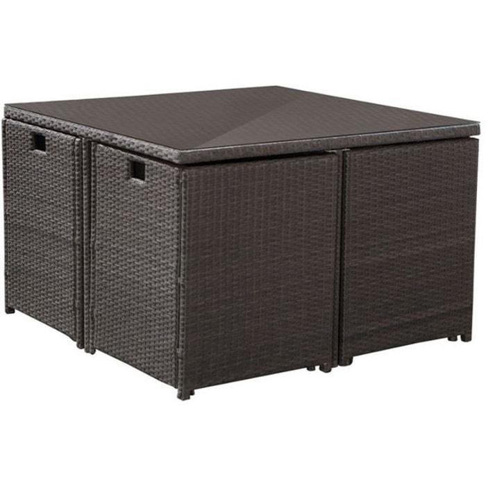 salon de jardin r sine encastrable 4 places gris cru gris cru jardindeco la redoute. Black Bedroom Furniture Sets. Home Design Ideas