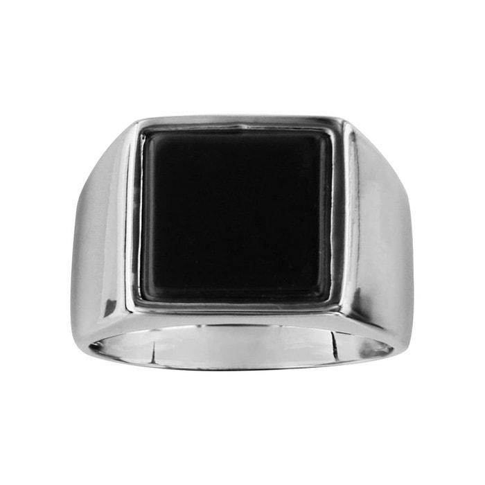 Bague chevalière carré onyx noir véritable argent 925 couleur unique So Chic Bijoux | La Redoute Réduction De Nouveaux Styles YO3xqNIk32