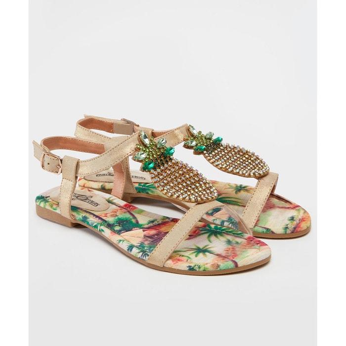 Sandales avec barre en t ornée dananas or Joe Browns