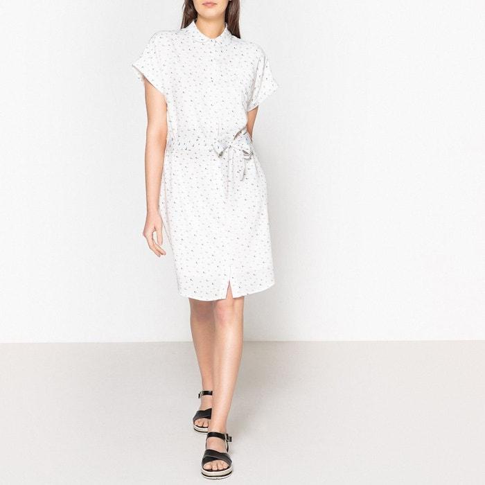 Robe imprimée motifs bateaux col claudine imprimé blanc Marie ... 9528d8c57f60