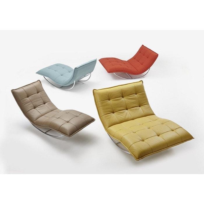 Chaise longue de relaxation cuir jaune rockme xxl avec for Chaise cuir jaune