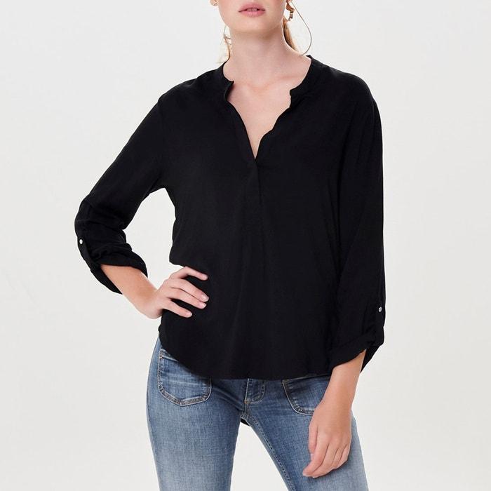 1fa354ae Long-sleeved plain v-neck blouse , black, Jacqueline De Yong | La ...