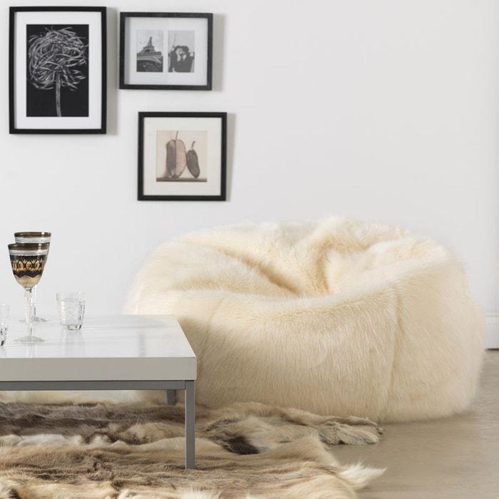 Icon Chaise Pouf Classique en Fausse Fourrure 84cm x 70cm Pouf Poire Grande Taille en Fourrure