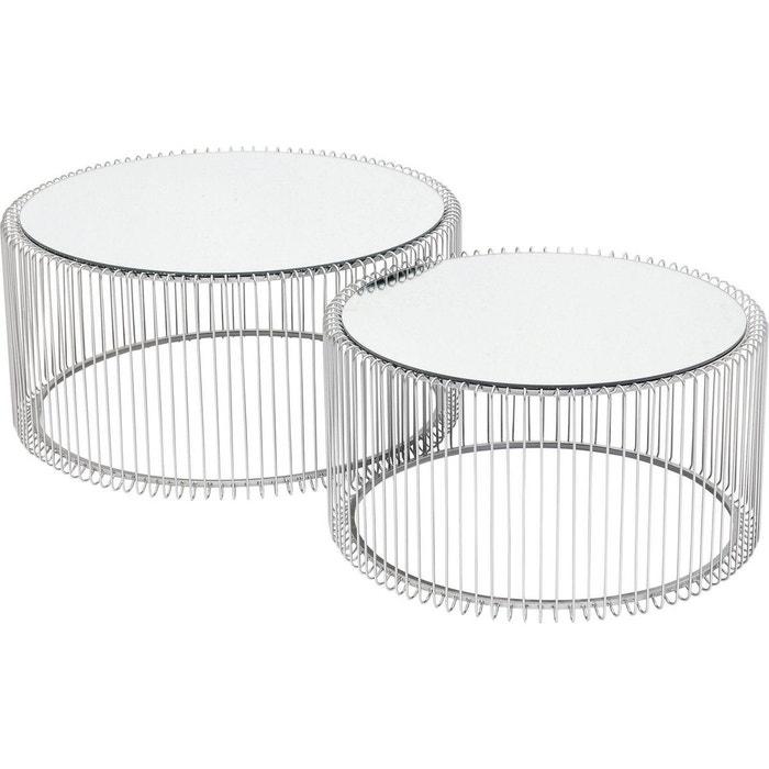 Tables Basses Rondes Wire Argentees Set De 2