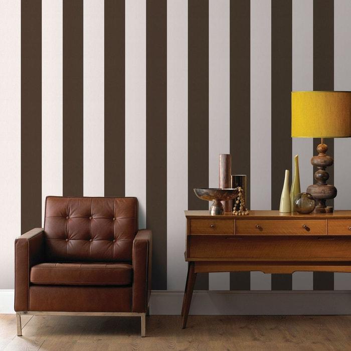Papier peint intissé basic rayures marron 10 m x 52 cm marron Graham ...