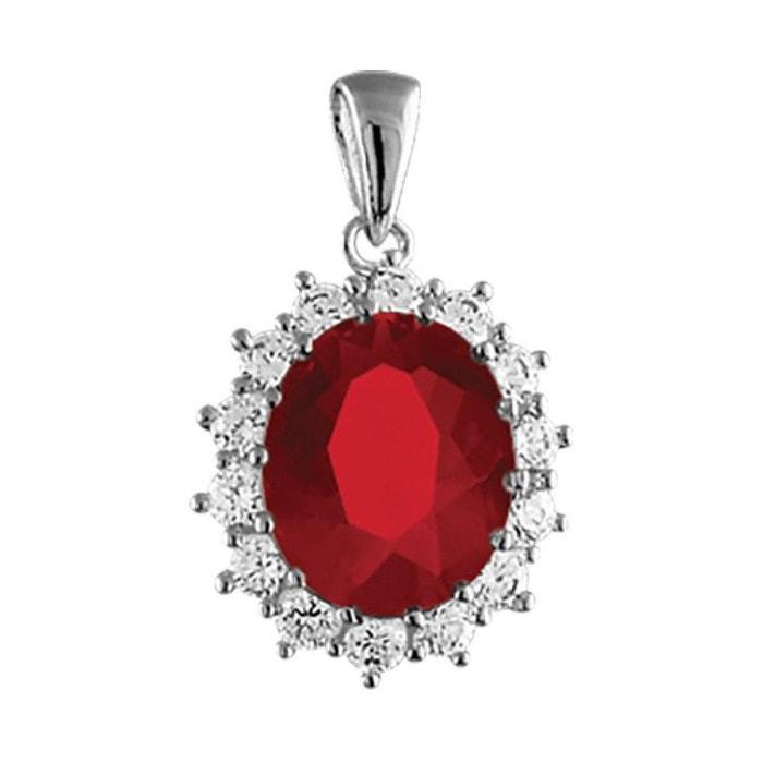 Pendentif oxyde de zirconium rouge blanc argent 925 couleur unique So Chic Bijoux | La Redoute Parfait Pas Cher TgDpcLtvX