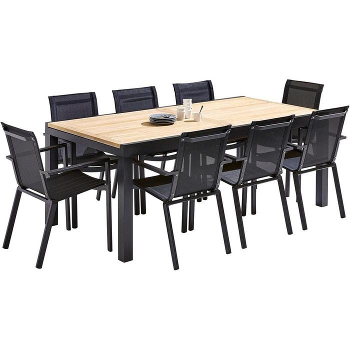 Table et chaises de jardin moderne bali 8 fauteuils noir Wilsa | La ...