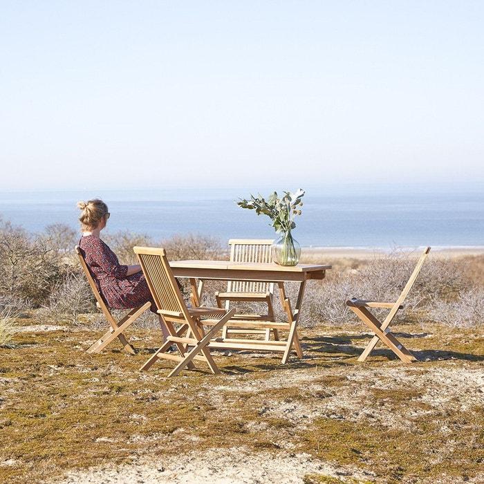 Salon de jardin en bois de teck 120 capri 4 chaises teck brut ...