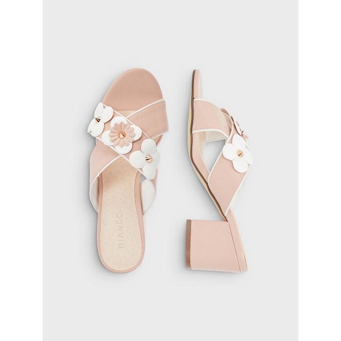 Sandales décoration à fleurs Bianco