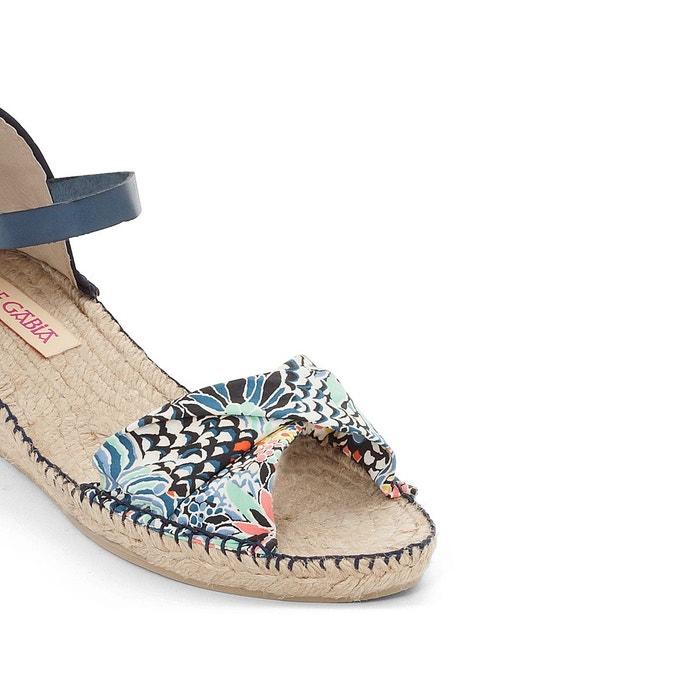Sandales talon compensé benji bleu imprimé Pare Gabia